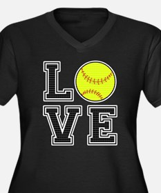 Love Softbal Women's Plus Size V-Neck Dark T-Shirt