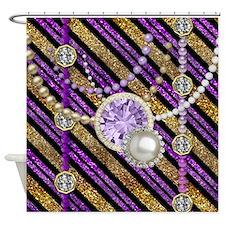 Faux Glitter & Jewels Purple Gold Shower Curta