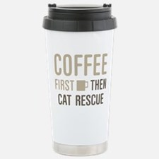 Coffee Then Cat Rescue Stainless Steel Travel Mug