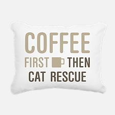 Coffee Then Cat Rescue Rectangular Canvas Pillow