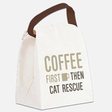 Coffee Then Cat Rescue Canvas Lunch Bag