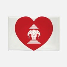 Laotian Erawan 3 Headed Elephant Heart Flag Magnet