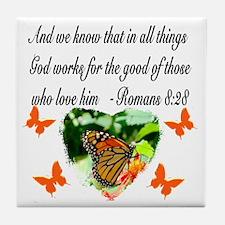 ROMANS 8:28 VERSE Tile Coaster