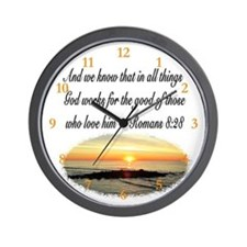 ROMANS 8:28 VERSE Wall Clock