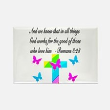 ROMANS 8:28 VERSE Rectangle Magnet