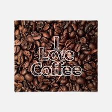 I Love Coffee, Coffee Beans Throw Blanket