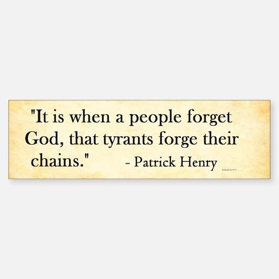 Patrick Henry - Tyranny - Bumper Bumper Bumper Sticker