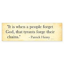 Patrick Henry - Tyranny - Bumper Bumper Sticker