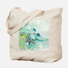 Tropical Flourishes on Mottled Light Gree Tote Bag