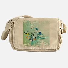 Tropical Flourishes on Mottled Light Messenger Bag