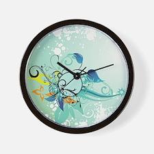 Tropical Flourishes on Mottled Light Gr Wall Clock