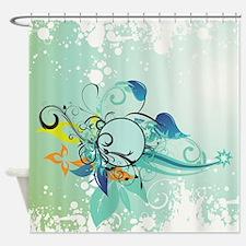 Tropical Flourishes on Mottled Ligh Shower Curtain