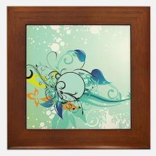 Tropical Flourishes on Mottled Light G Framed Tile