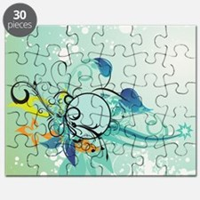 Tropical Flourishes on Mottled Light Green Puzzle