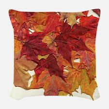 Fall Sugar Maple Leaves Woven Throw Pillow