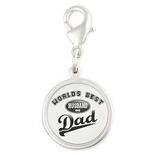 Best Husband/Dad Silver Round Charm