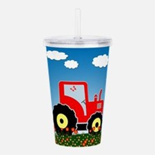 Red tractor in a field Acrylic Double-wall Tumbler