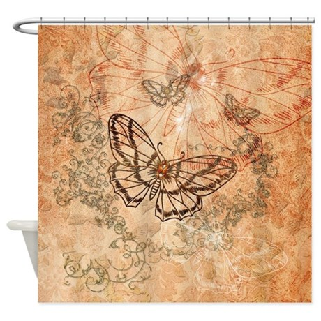 Elegant Decorative Butterflies Shower Curtain By