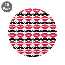 """Red and Black Mustache and L 3.5"""" Button (10 pack)"""
