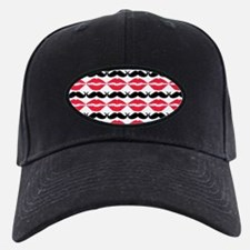 Red and Black Mustache and Lips Pattern Baseball Hat