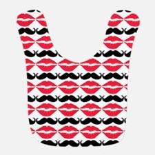 Red and Black Mustache and Lips Pattern Bib