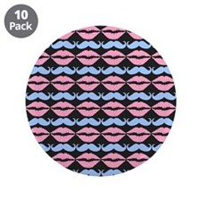 """Blue and Pink Mustache and L 3.5"""" Button (10 pack)"""