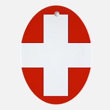 modern Switzerland Flag Oval Ornament