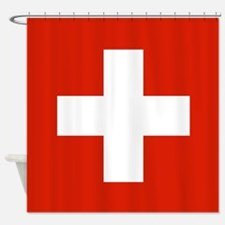 modern Switzerland Flag Shower Curtain