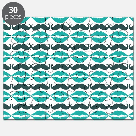 Teal Blue Mustache and Lips Pattern Puzzle