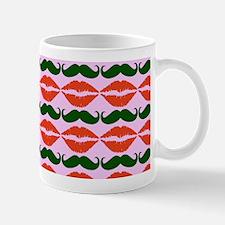 Red Green Mustache and Lips Pattern Mug