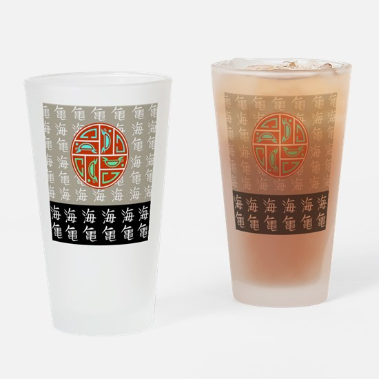 SEA TURTLE IN JAPANESE PRINT Drinking Glass
