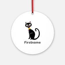 Black Cat (p) Round Ornament