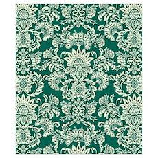vintage damask green shirt Poster
