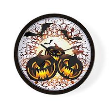 Black Pumpkins Halloween Night Wall Clock