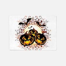 Black Pumpkins Halloween Night 5'x7'Area Rug