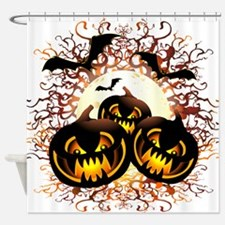 Black Pumpkins Halloween Night Shower Curtain