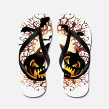 Black Pumpkins Halloween Night Flip Flops