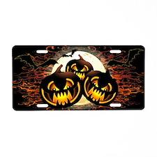 Black Pumpkins Halloween Night Aluminum License Pl