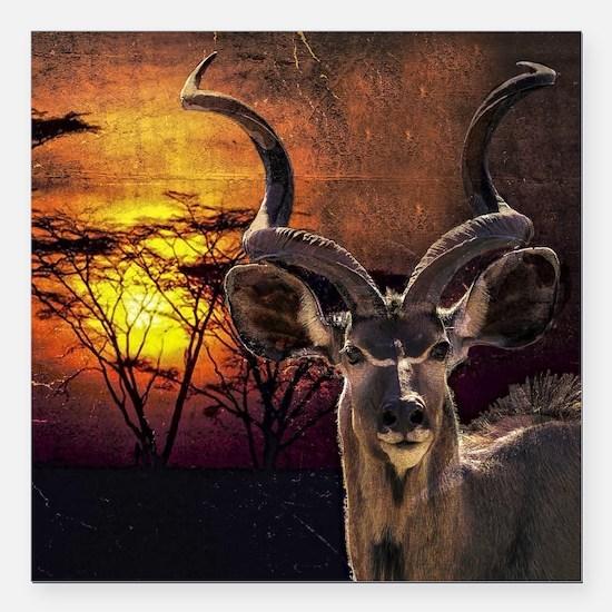 "Antelope Sunset Square Car Magnet 3"" x 3"""