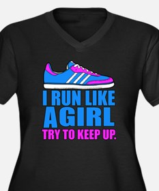 Run Like a G Women's Plus Size V-Neck Dark T-Shirt