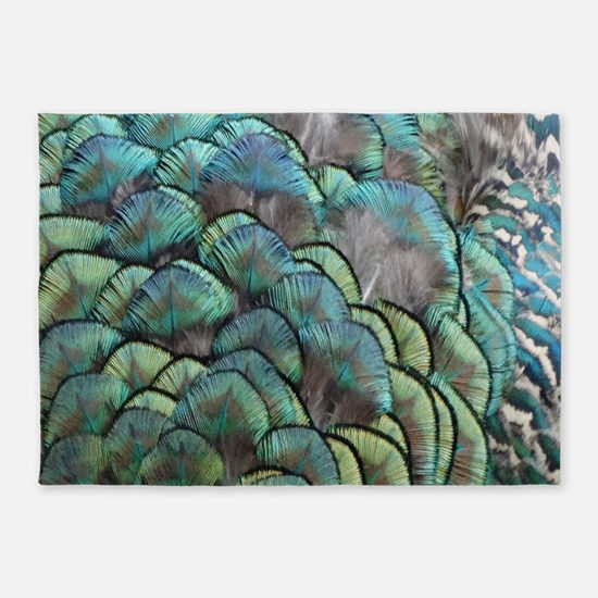 Wispy Green Peacock Feathers 5'x7'Area Rug