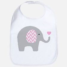 Pink Chevron Elephant Bib