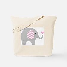 Pink Chevron Elephant Tote Bag