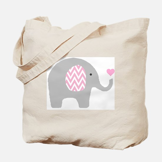 Pink Chevron Elephant Tote Bag