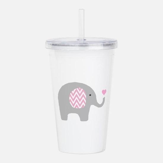 Pink Chevron Elephant Acrylic Double-wall Tumbler