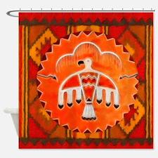 Orange Thunderbird Shower Curtain