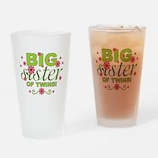 bigsistergreenpinkflowerstwins Drinking Glass