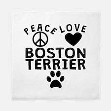 Peace Love Boston Terrier Queen Duvet