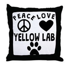 Peace Love Yellow Lab Throw Pillow