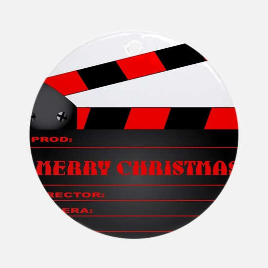 Red Christmas Clapper Board Round Ornament